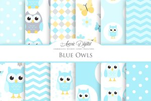 Cute Blue Owl Digital Paper