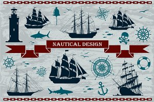 Vector Nautical Design Elements Set