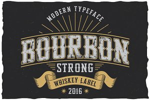 Bourbon Strong label font