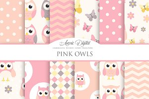 Cute Pink Owl Digital Paper