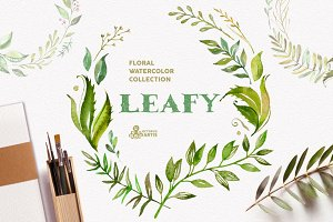 Leafy. Watercolor floral collection