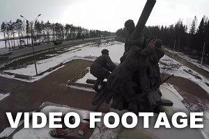 Flying over the war memorial