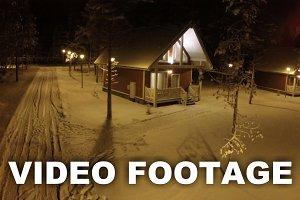 Small Village In Winter Night