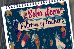 Set patterns of feathers. Boho decor