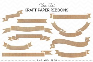 Kraft Paper Ribbons Banners Clip Art