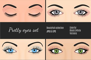 Realistic Eyes Vector Set