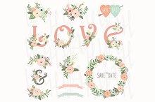 Vintage Floral Love Wedding Elements