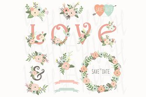 Vintage Floral Love Wedding Elements