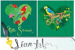 Heart shape, palm trees, parrots