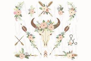 Floral Bull Skull Elements