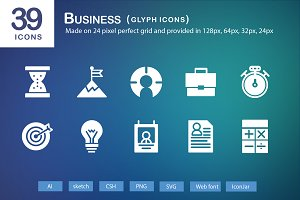 39 Business Glyph Icons