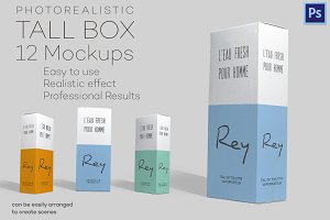 Photorealistic Tall Box - 12 Mockups