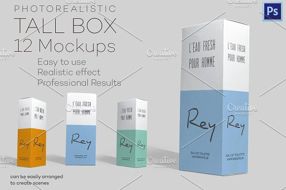 Download Photorealistic Tall Box - 12 Mockups