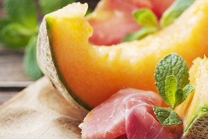 Antipasto with melon and ham