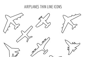 Airplanes thin line icons