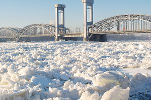 Bridge on winter river
