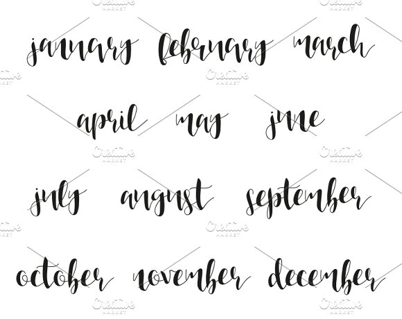 Month names in calligraphy objects creative market