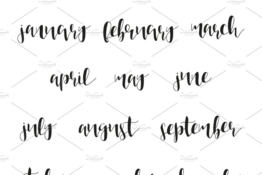 12 month names in calligraphy