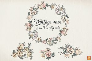 Vintage Rose Wreath & Clip Arts