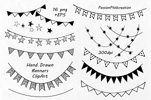 Hand Drawn Banners clipart