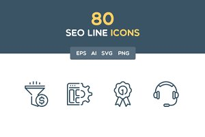 SEO line icon set