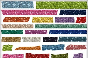 Glitter Washi Tape 30 Digital PNGs
