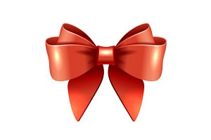 Red vector gift bow and ribbon