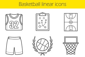 Basketball linear icons set. 9 items