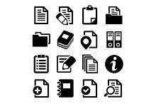 Documents and folders icons set.