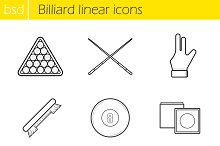 Billiard linear icons set. 9 items