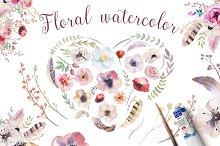 Watercolor floral set II