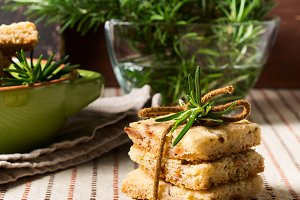 Home made cookies with rosemary and pignoli nuts