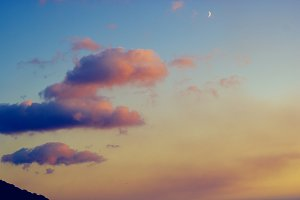sunset and moon