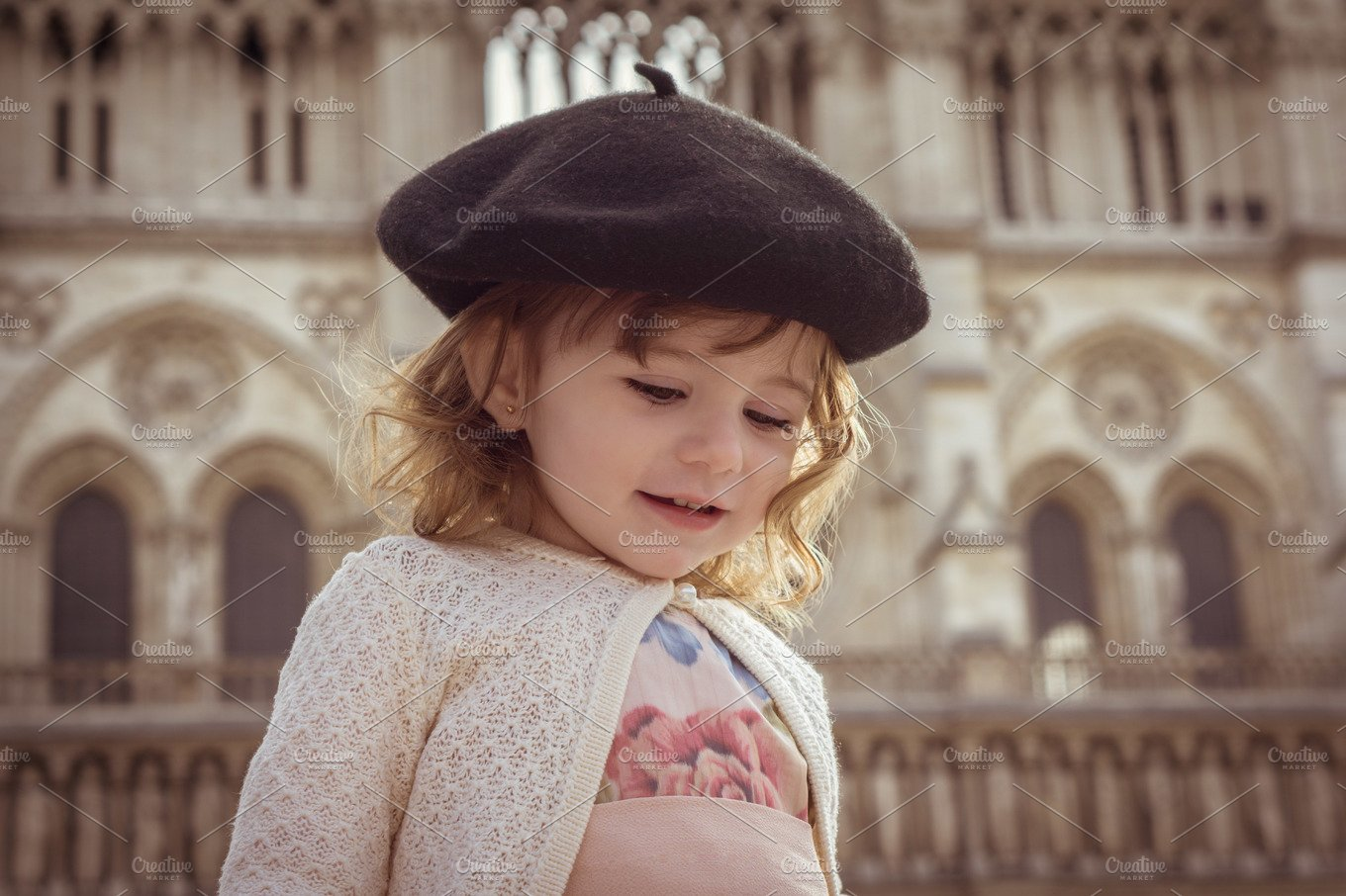 Baby girl with beret in Paris ~ Beauty   Fashion Photos ~ Creative Market 7648140c669