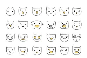 Cat emotions set of 36 pieces