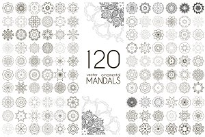 120 vector ornamental mandalas
