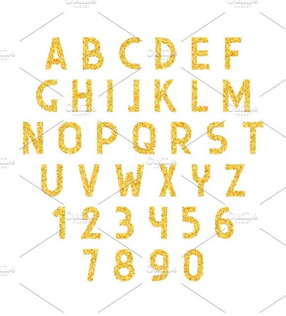 Font gold. Alphabet of placer gold - Objects
