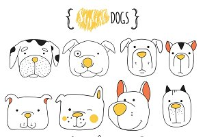 Set of 16 cute dogs doodle