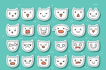 Cat emotions set of 36 stickers