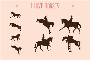 I love horses silhouettes