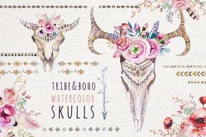 Watercolor boho skulls
