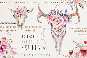 Watercolor boho skulls