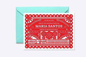 Papel Picado Invite Template