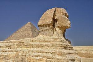 Sphinx against of Giza pyramid