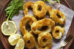 Squid rings, Fried in egg and Lemon.