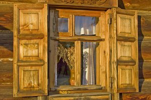 Traditional old Russian window.