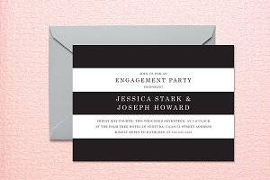 Striped Engagement Invite Template