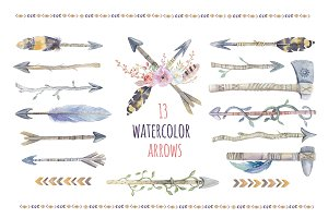 Tribe watercolor boho arrows