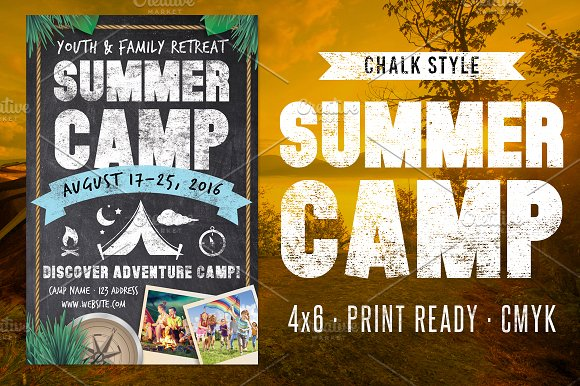 chalk summer camp flyer flyer templates on creative market. Black Bedroom Furniture Sets. Home Design Ideas