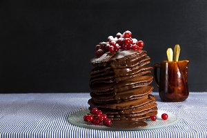 Stack of Small chocolate Pancakes